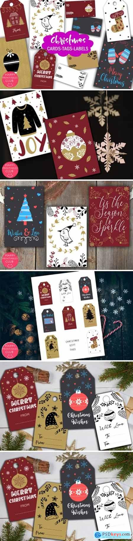 Christmas Cards-Gift Tags-Labels Holiday 1948479