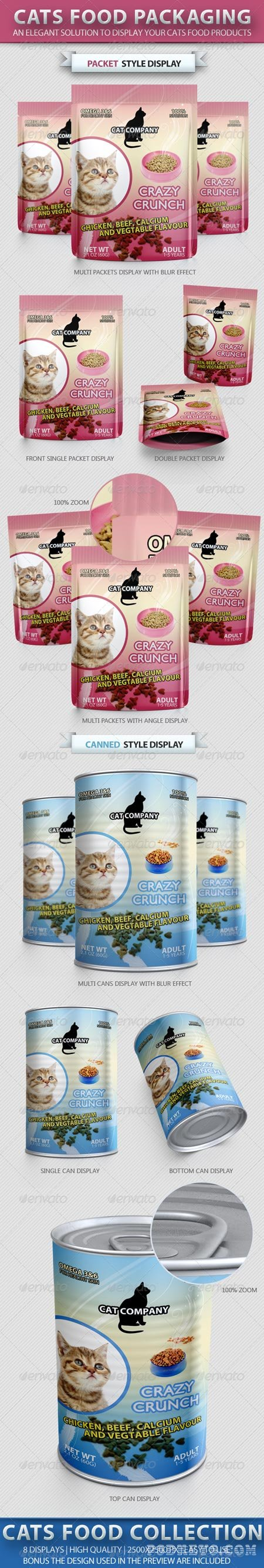 Cats Food Packaging Mock-up 2210444