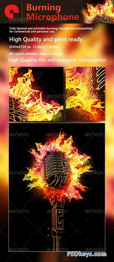 Burning Microphone GraphicRiver