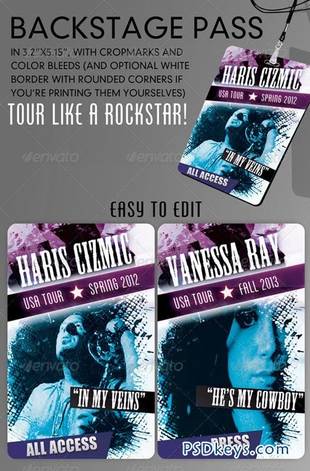 Cool backstage pass template version 2.0 GraphicRiver » Free ...