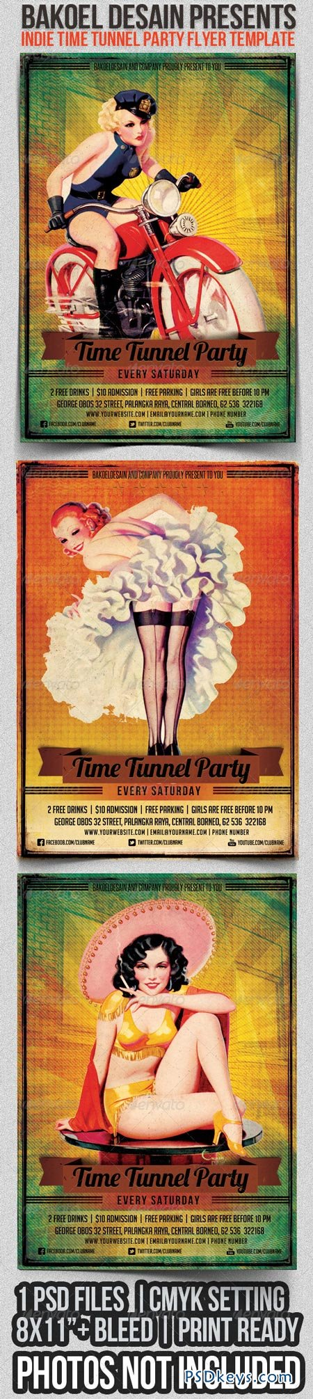 Indie Time Tunnel Party Flyer Template 2773443