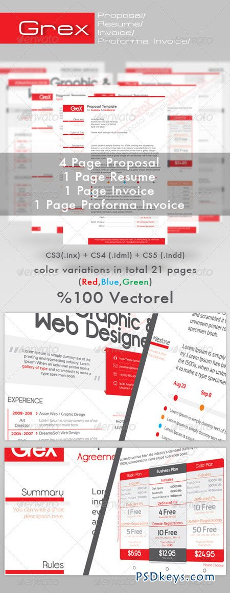 Grex Proposal Resume Invoice Template Package 490929