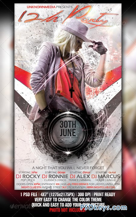 12h Party Flyer Template Design 1188975