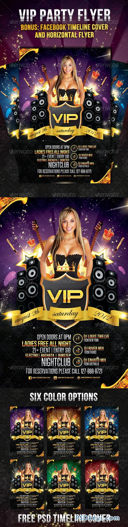 VIP Party Flyer Vertical & Horizontal with Timeline 2257759