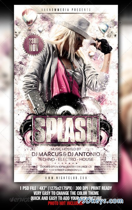 Grungy Splash Party Flyer Template 815764