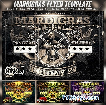 Mardigras Weekend Flyer Template 1551429