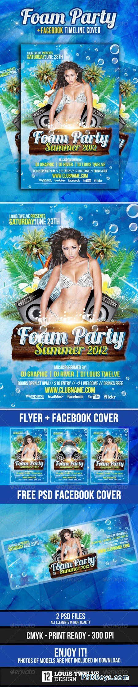 Foam Party Summer Flyer with Facebook Cover 2459231
