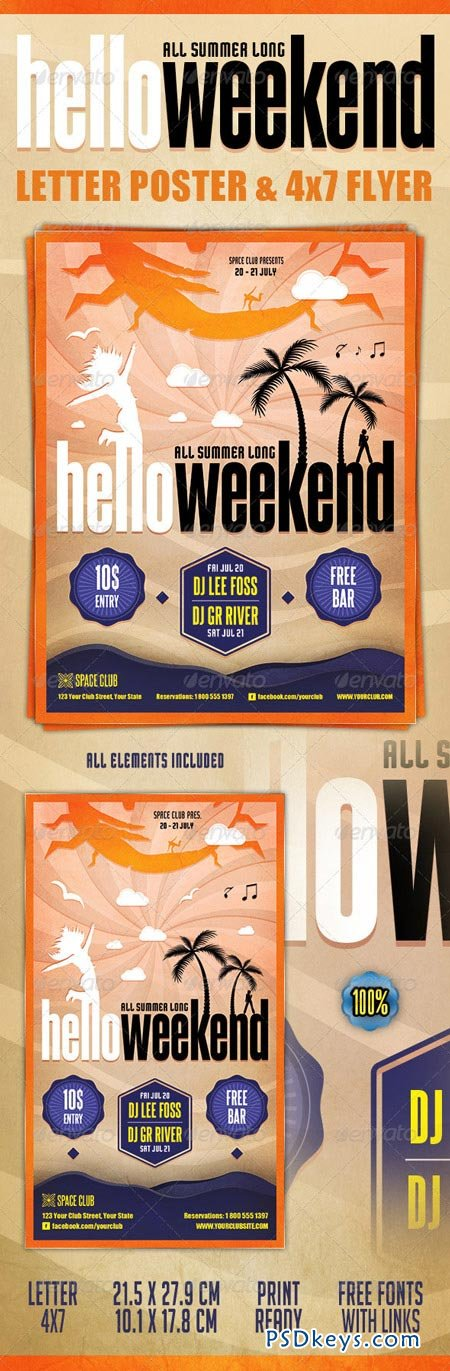 Hello Weekend Poster & Flyer 2493495