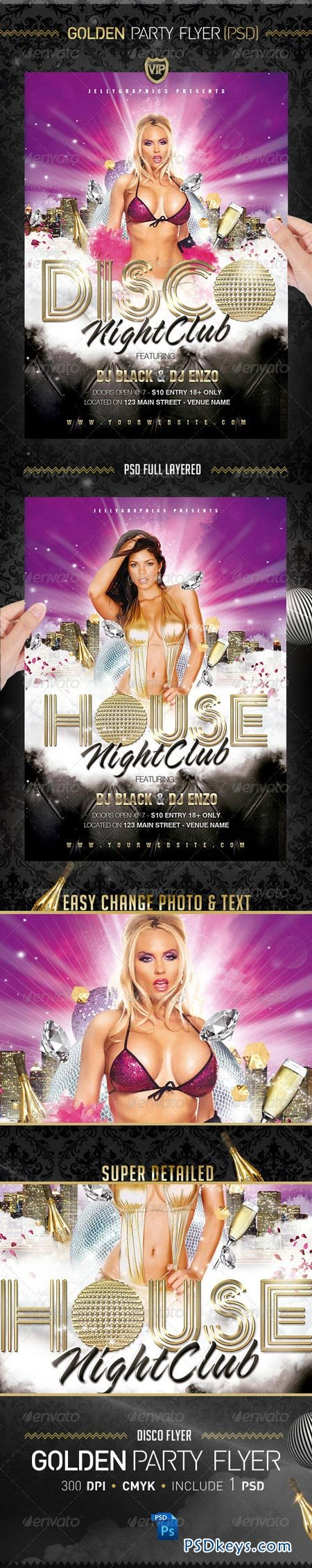 Golden Party Night Flyer Template 2304980