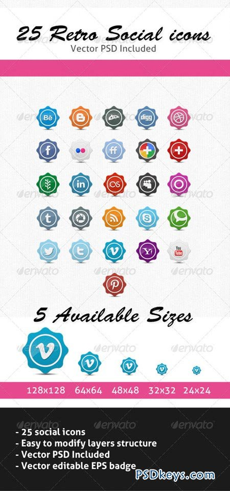 25 Retro Social Icons Badge Label Pack 2465147