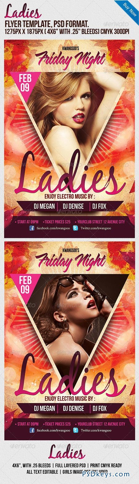 Ladies Night Party Flyer Template 1063272