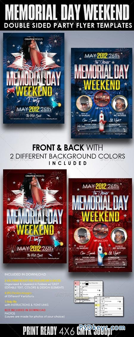 Memorial Day Weekend Party Flyer Templates 2195959