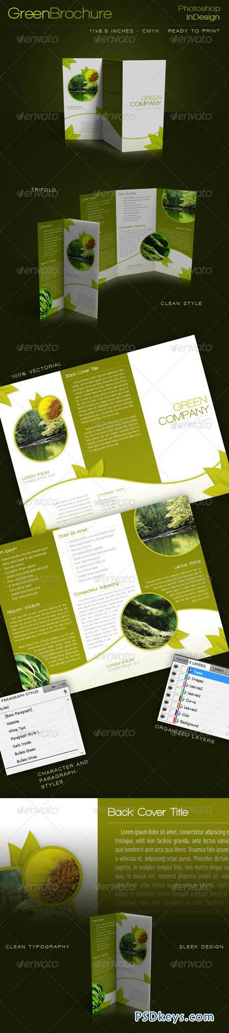 Green Trifold Brochure InDesign Template 235459