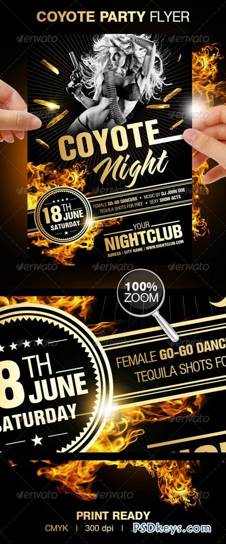 Coyote Night Party Flyer 156419