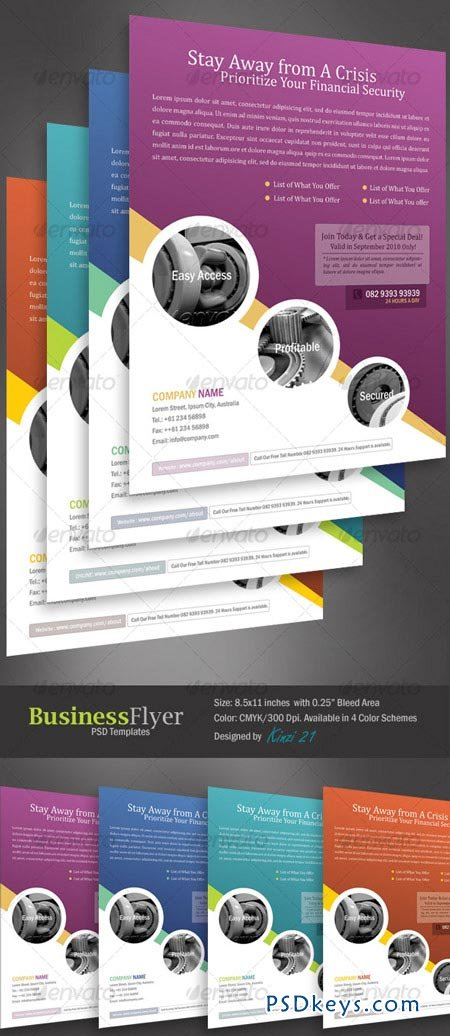 Business Flyer Template With 4 Color Schemes 128764