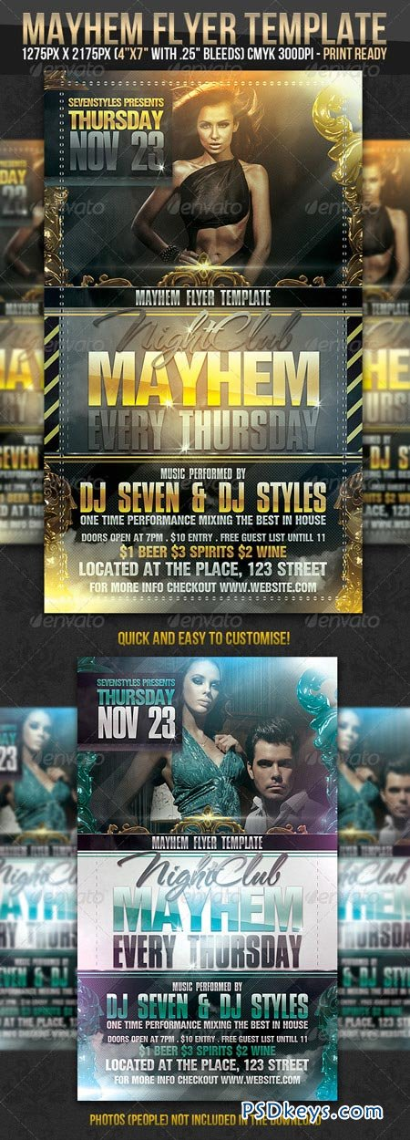 Mayhem Flyer Template   Free Download Photoshop Vector Stock