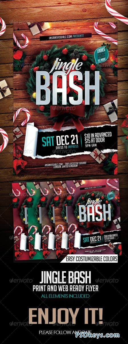 Jingle Bash Xmas Flyer PSD 6324016