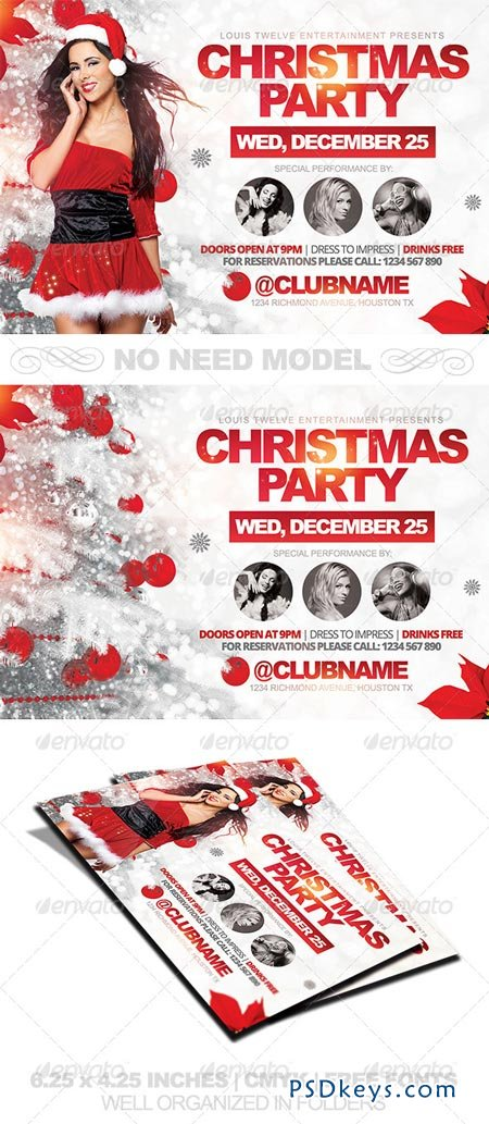 Christmas Party Horizontal Flyer Template 6349321 » page 2 ...