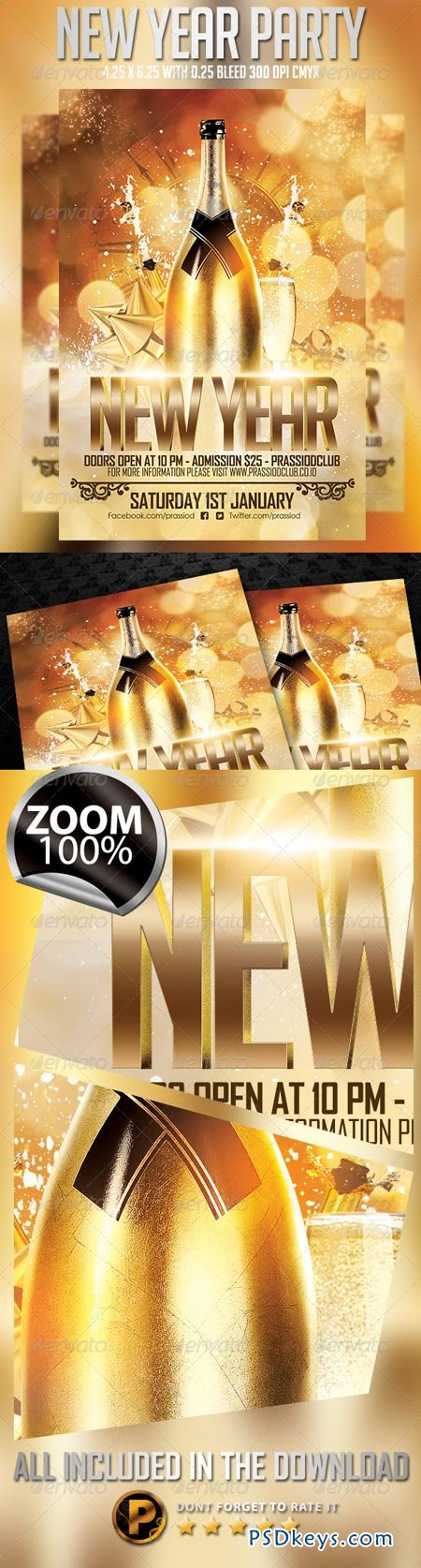 New Year Party Flyer Template 6327693 » Free Download Photoshop