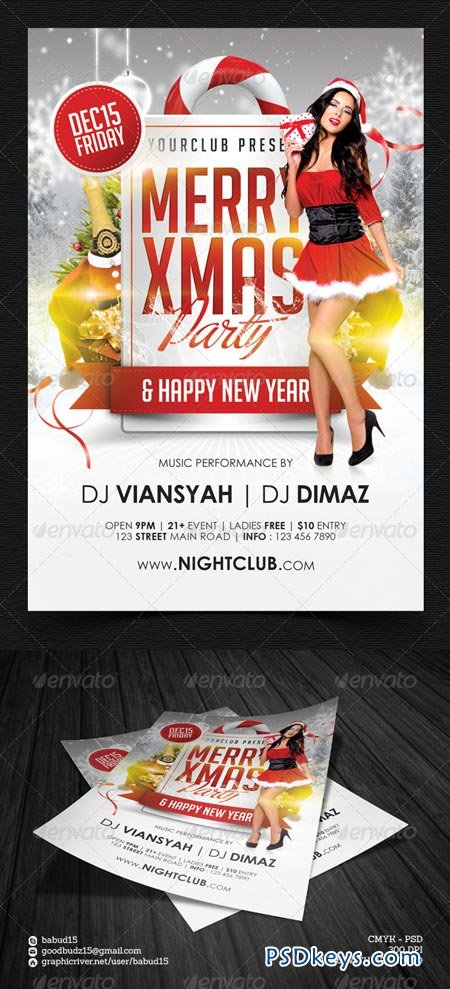 Merry Xmas Party Flyer Template 6299640 Free Download Photoshop
