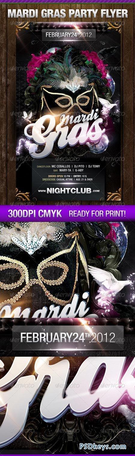 Dark Theme Mardi Gras Flyer 1557857