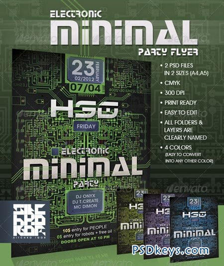 Electronic Minimal Party Flyer 459628