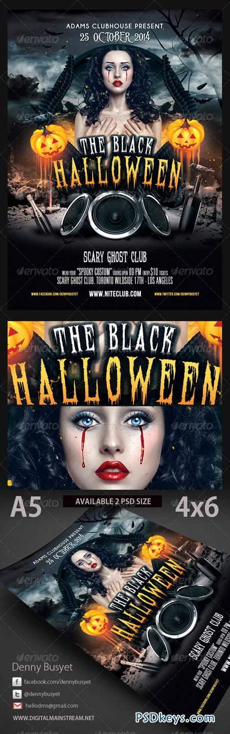 The black halloween psd flyer template 3189775 free for Halloween flyers psd