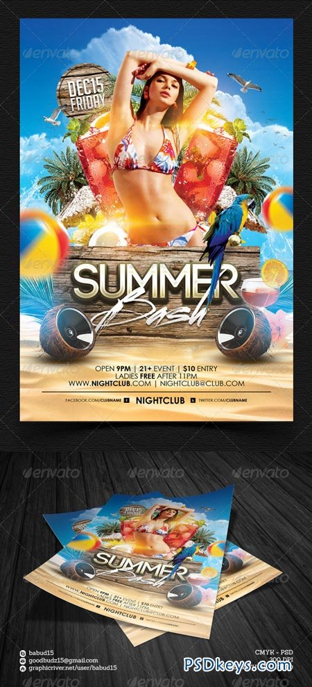 Summer Bash Flyer Template   Free Download Photoshop Vector