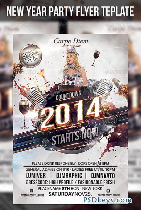 New Year Party Flyer Template   Free Download Photoshop