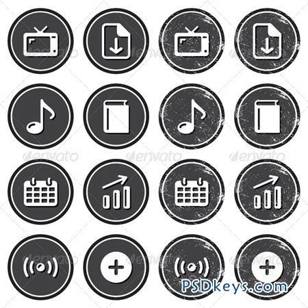 Website Navigation Icons on Retro Labels Set 3519520