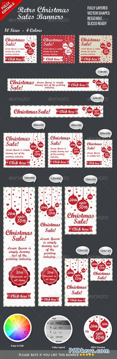 Retro Christmas Sales Banners 3512374