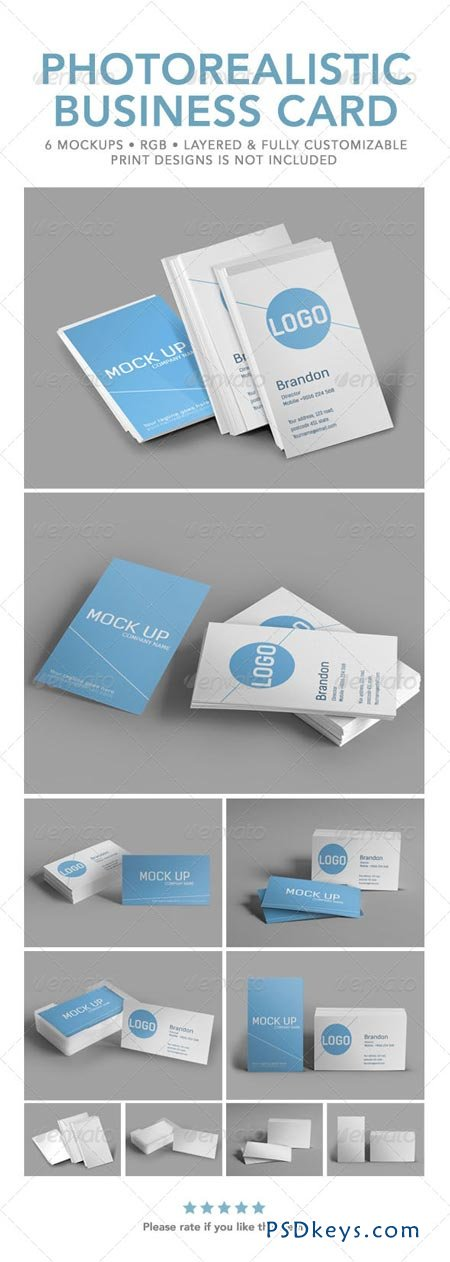 Photorealistic Business Card Mock Up 6387791