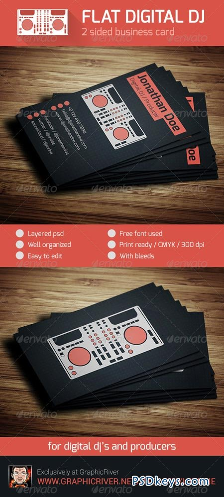 Flat Digital DJ Business Card 6330678