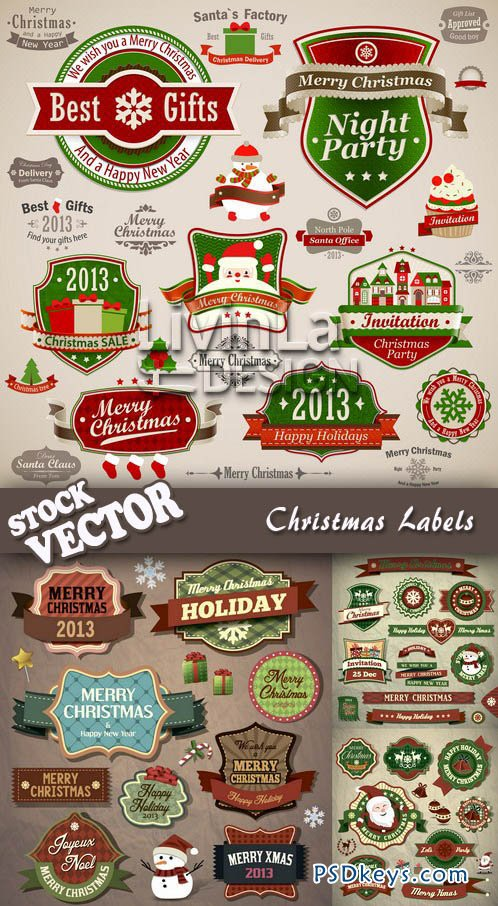 Stock Vector - Christmas Labels