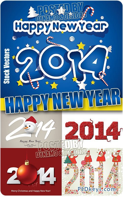 New Year 2014 - Stock Vectors