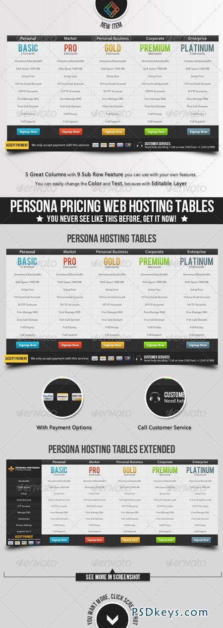 Persona Pricing Web Hosting Tables 3506717