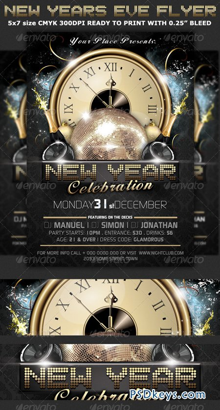 New Years Eve Party Flyer Template   Free Download Photoshop