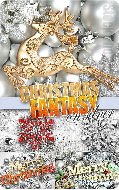 Christmas Fantasy on Silver - UHQ Stock Photo