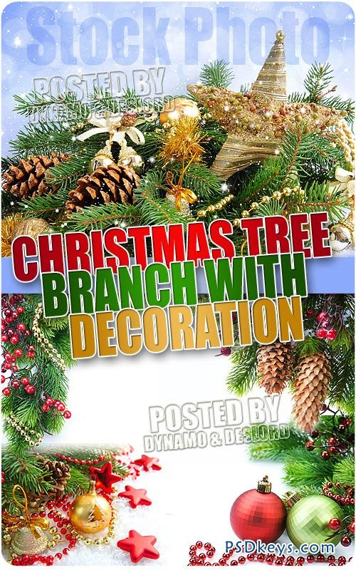 Christmas tree branch with decorations - UHQ Stock Photo