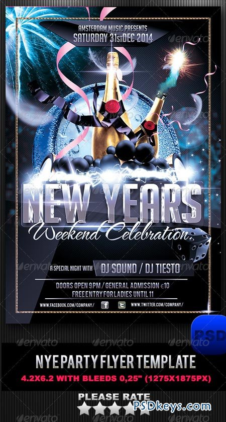 NYE Party Flyer Template 6283993