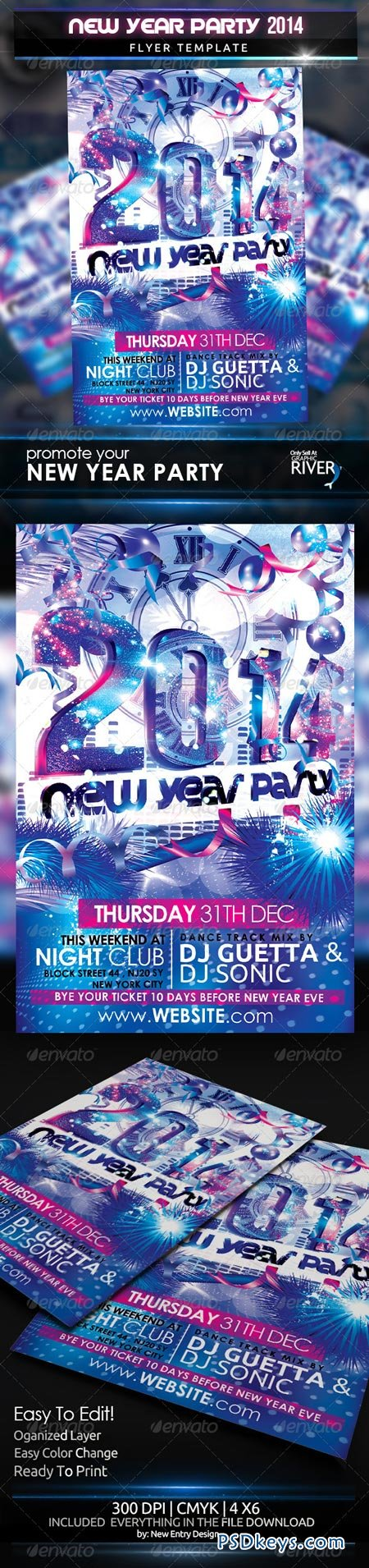 New Year Party 2014 Flyer Template 6296013