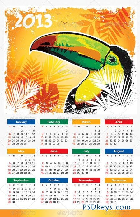 Tropical Bird 2013 Calendar 3477970