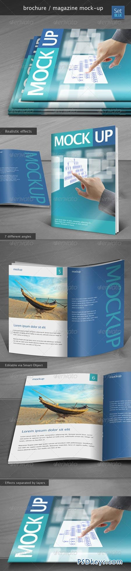 GraphicRiver Brochure Magazine Mock-up Set Blue