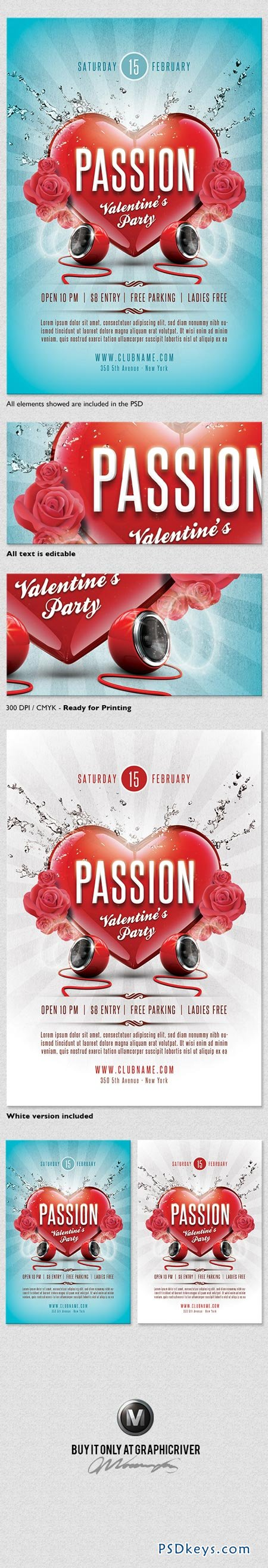 Passion Valentines Flyer Template 3772728
