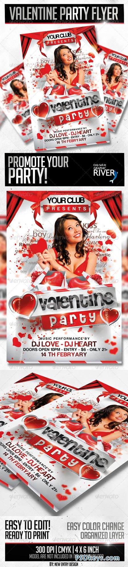 Valentine Party Flyer Template 3792006