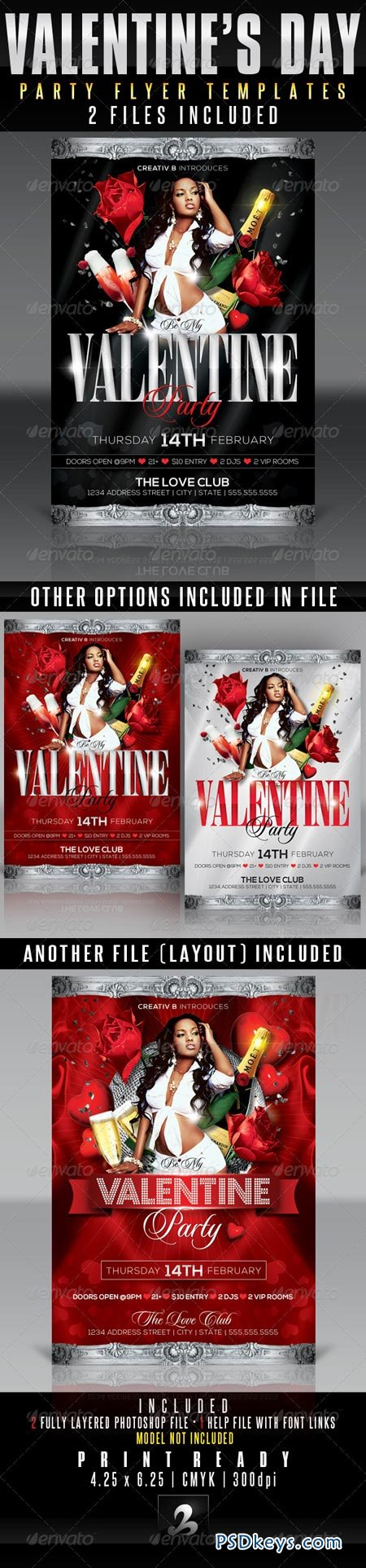 Valentine's Day Party Flyer Templates 3802576