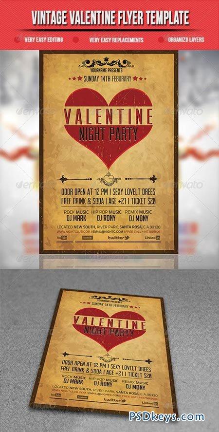 Vintage Valentine Flyer Template 3795530 » Free Download Photoshop ...