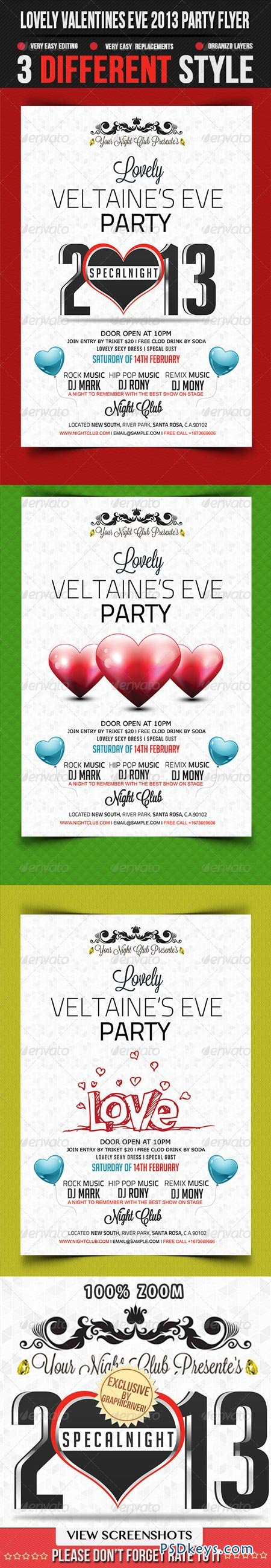 Lovely Valentines Eve 2013 Party Flyer Template 3786978