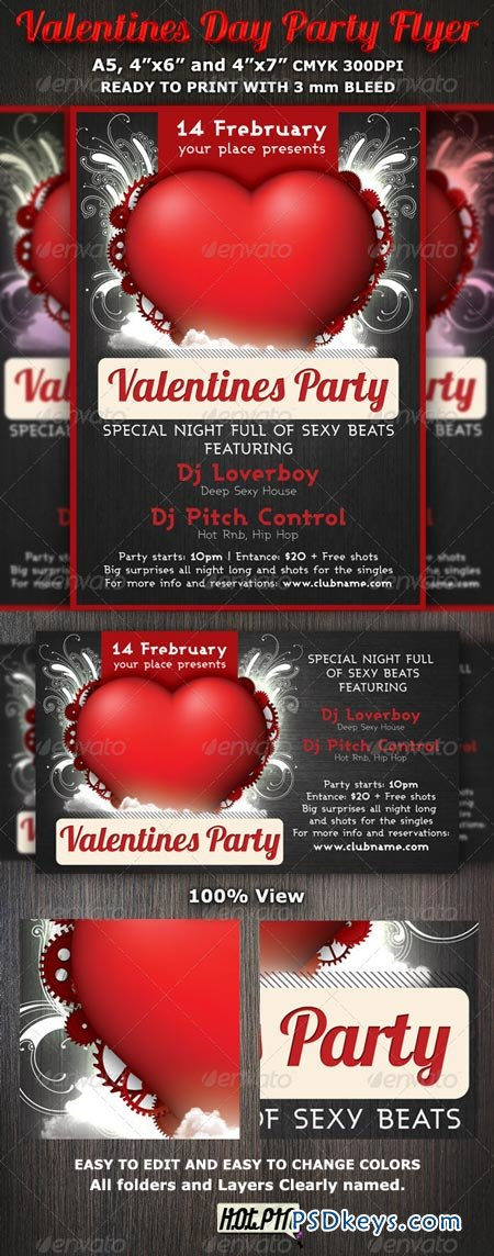 Valentines Day Party Flyer Template 1216903