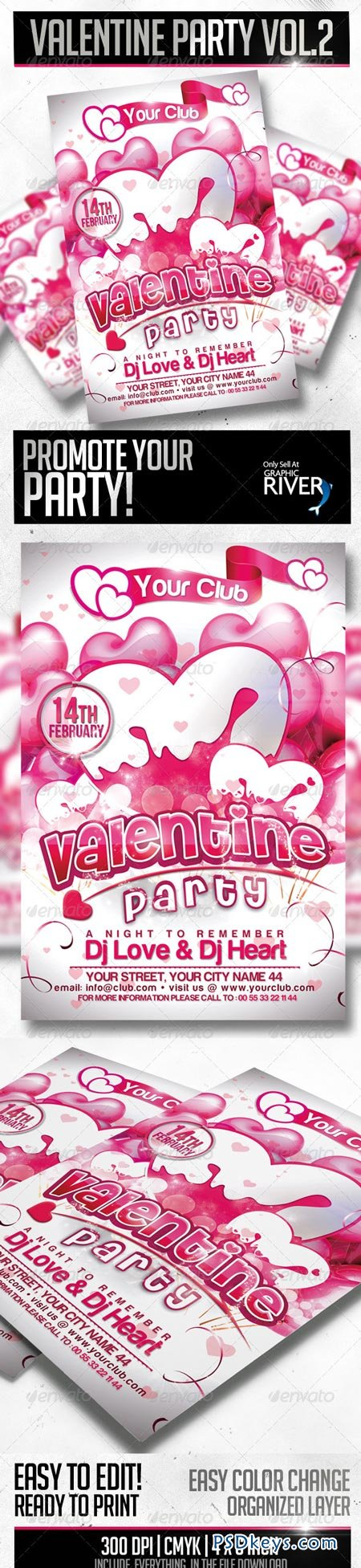 Valentine Party Flyer Template 3814430